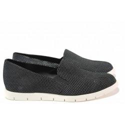 Дамски спортни обувки, естествен набук, анатомично ходило / Ани 2137 черен точки / MES.BG
