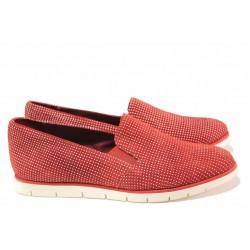 Анатомични дамски обувки на точки, естествен набук, ластик / Ани 2137 червен точки / MES.BG