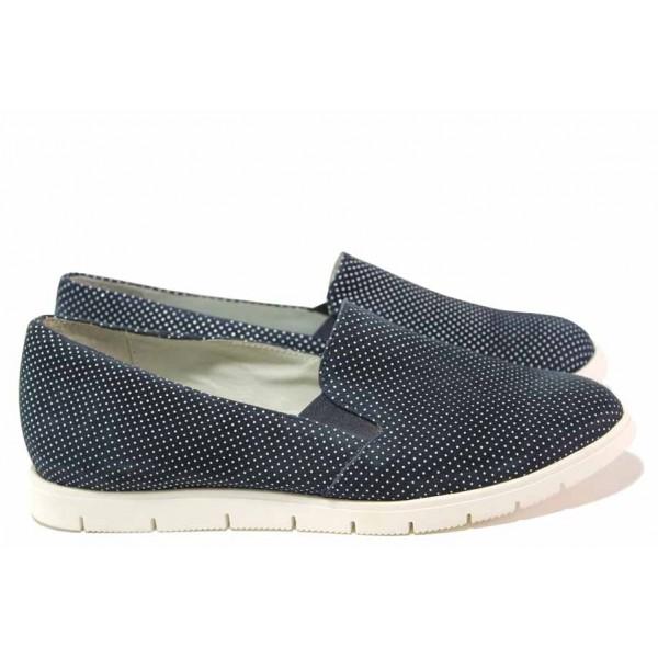 Български спортни обувки, естествени кожа, ластик за удобно обуване / Ани 2137 син точки / MES.BG