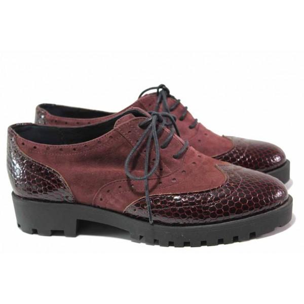 Дамски обувки от естествен велур, естествена кожа с ''кроко'' ефект, връзки, анатомични / Ани 2367 бордо / MES.BG