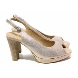 Български дамски сандали на висок ток, естествена кожа, закопчаване-катарама / Ани 41757 розов / MES.BG