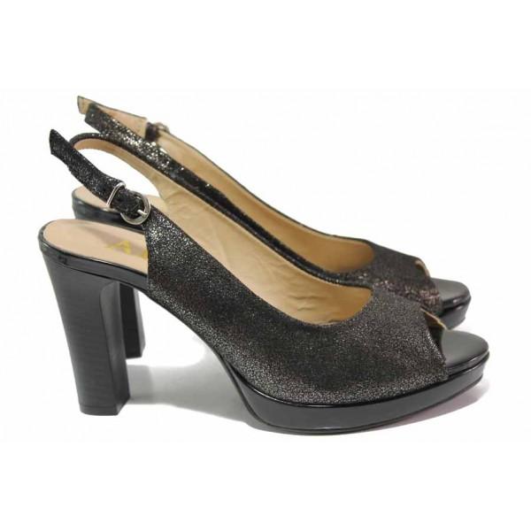 Ефектни дамски сандали, естествена кожа, висок ток, катарама / Ани 41757 черен / MES.BG
