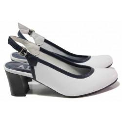 Анатомични дамски обувки, отворена пета, естествена кожа, катарама / Ани 41515 бял-син / MES.BG