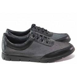 Дамски спортни обувки с връзки, естествена кожа, анатомични / Ани Peery 02 черен точки / MES.BG