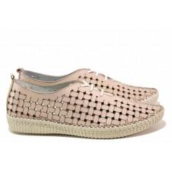 Летни дамски обувки, естествена кожа, връзки, анатомично ходило / Ани NORA-05B пудра / MES.BG