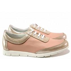 Спортни дамски обувки, естествена кожа, връзки при свода / Ани PEERI-02 пудра / MES.BG