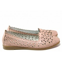 Равни дамски обувки за лятото, естествена кожа, перфорация / Ани MARINNA-01 пудра / MES.BG