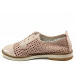 Равни дамски обувки за лятото, естествена кожа, перфорация / Ани ADRIANA-01 пудра / MES.BG
