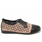 Равни дамски обувки за лятото, естествена кожа с перфорация, връзки / Ани MARINA-02 пудра-черен / MES.BG