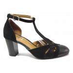 Стилни дамски обувки, естествена кожа и велур, закопаване-катарама / Ани 91771 черен / MES.BG