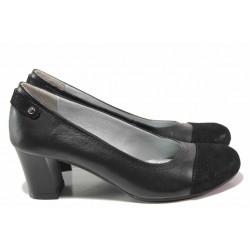 Български дамски обувки, висок ток, естествена кожа с велур / Ани 71550 черен / MES.BG