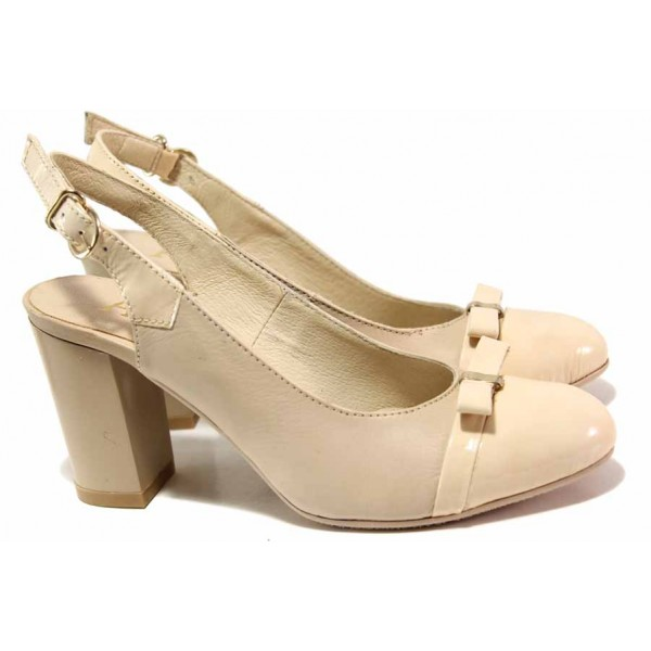 Анатомични дамски обувки, естествени кожа и лак, отворена пета / Ани 71777 бежов / MES.BG