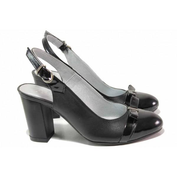 Стилни дамски обувки, висок ток, естествени кожа и лак, отворена пета / Ани 71777 черен / MES.BG