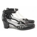 Анатомични дамски обувки на стабилен ток, красива перфорация, естествена кожа / Ани 91510 черен / MES.BG
