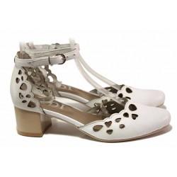 Анатомични дамски обувки, среден ток, естествена кожа, каишка около глезена / Ани 91510 бял / MES.BG