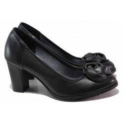 Български дамски обувки с интересен акцент, естествена кожа, висок ток / Ани 41601 черен цвете / MES.BG
