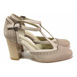 Български дамски обувки, висок ток, естествена кожа, каишка около глезена / Ани 71770 таупе-бял / MES.BG