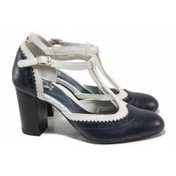 Български дамски обувки, изцяла от естествена кожа, висок ток / Ани 71770 син-бял / MES.BG