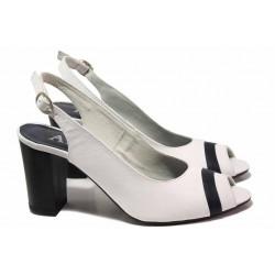 Български дамски сандали, естествена кожа, висок и стабилен ток / Ани 71705 бял / MES.BG