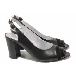 Дамски сандали със семпла визия, естествена кожа, висок ток / Ани 71705 черен  / MES.BG