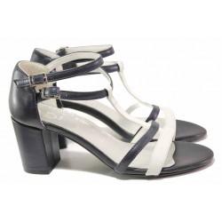 Дамски сандали със затворена пета, естествена кожа, висок ток / Ани 62730 син-бял / MES.BG