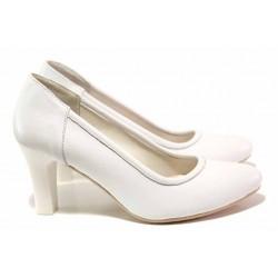 Класически дамски обувки, естествена кожа, висок и стабилен ток / Ани 41601 бял / MES.BG