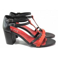 Стилни дамски сандали, естествена кожа, затворена пета / Ани 62730 черен-червен / MES.BG