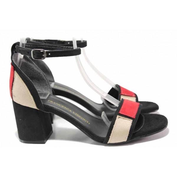 Велурени дамски сандали, затворена пета, висок ток / ФА 1283 черен-червен / MES.BG