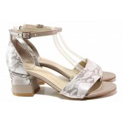 Стилни дамски сандали, естествена кожа с ефектна змийска шарка, затворена пета / ФА 869 сребро-змия / MES.BG