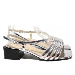 Стилни дамски сандали с огледален ефект, квадратен ток, катарама / ФА 1187 сребро / MES.BG