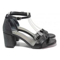 Ефектни дамски сандали със затворена пета, естествена кожа с велур, облечен ток / ФА 1186 черен / MES.BG