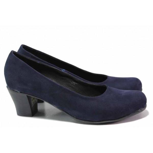 Анатомични дамски обувки, естествен набук, среден ток, български, стилни / Ани 165-1705 син / MES.BG