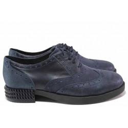 Равни дамски обувки, естествена кожа, анатомични, български, връзки, класически модел / Ани 2367 син / MES.BG