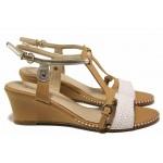 Анатомични дамски сандали, платформа, естествена кожа, български / Ани 5521 таба-бял / MES.BG