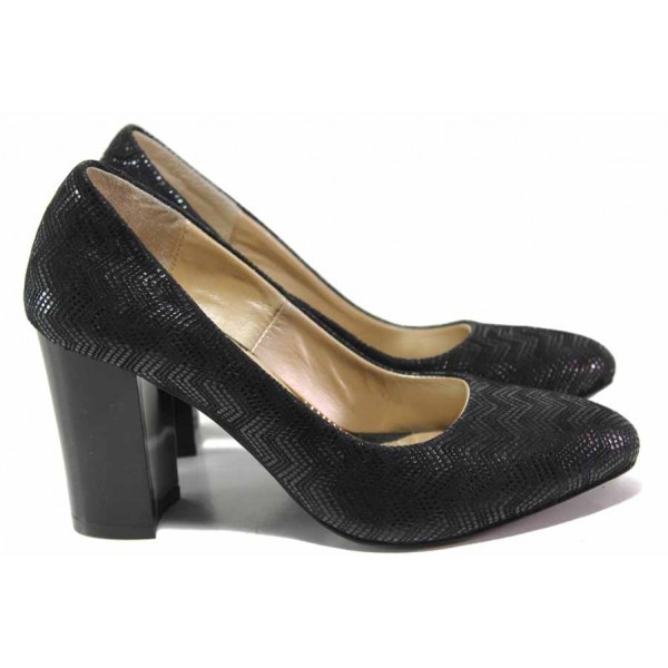 Български дамски обувки, естествен велур с релеф, висок ток / Ани 2341 черен / MES.BG