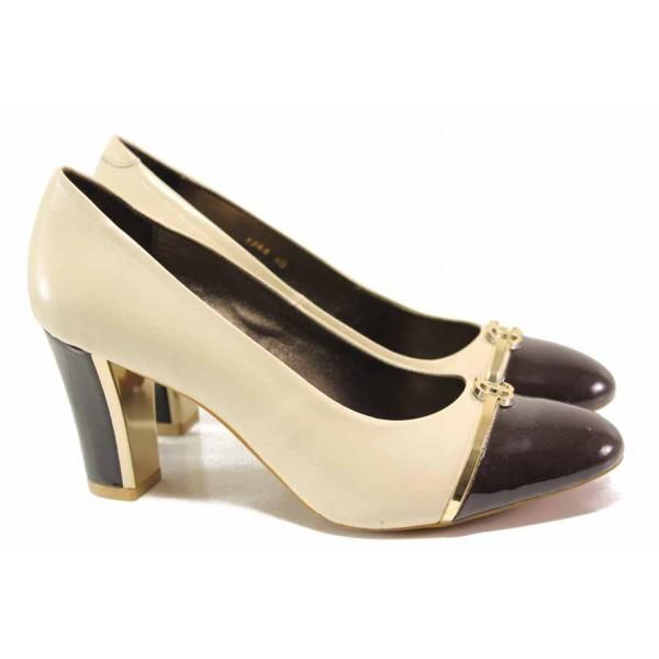 Дамски обувки с интересен дизайн, естествена кожа, висок ток / Ани 1744 бежов-кафяв / MES.BG