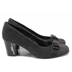 Дамски анатомични обувки с акцент-панделка, естествен велур, висок ток / Ани 1975 т.сив / MES.BG