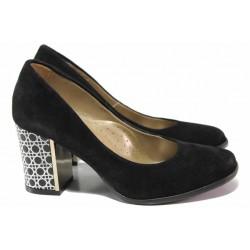 Стилни дамски обувки с ефектен ток, естествен велур, анатомична стелка / Ани 2114 черен / MES.BG
