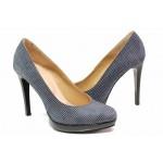 Дамски обувки с платформа при пръстите, естествен велур, висок ток / Ани 15321 син точки / MES.BG
