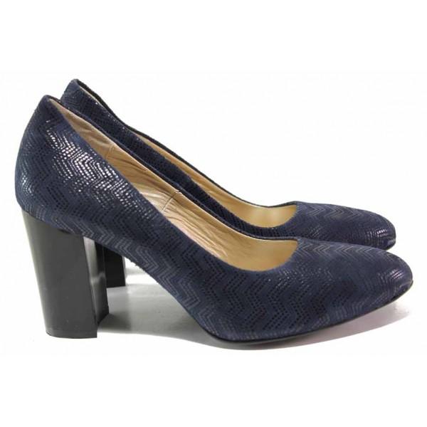 Елегантни дамски обувки, естествен велур, висок ток / Ани 2341 син / MES.BG