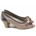 Дамски обувки с отворени пръсти, естествена кожа, среден ток / Ани ADI 41501 визон / MES.BG