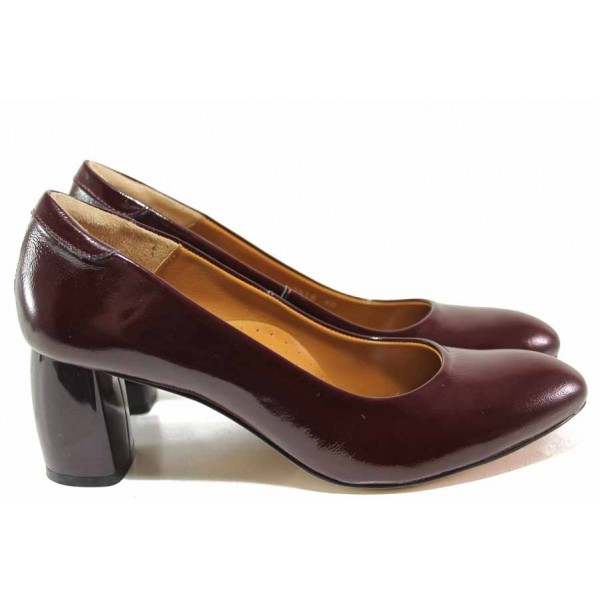 Елегантни дамски обувки ръчна изработка, естествена кожа-лак, висок ток / Ани 2566 бордо / MES.BG