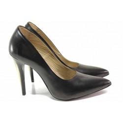 Стилни дамски обувки, естествена кожа, висок ток / Ани 1797 черен / MES.BG
