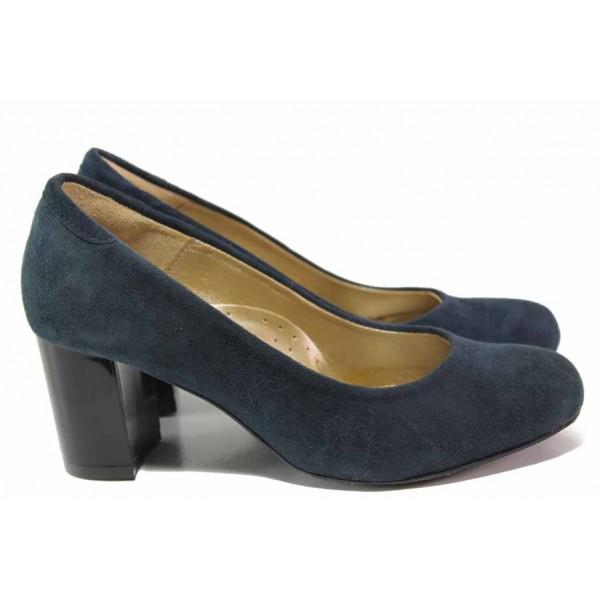 Анатомични дамски обувки със семпъл дизайн, естествен велур, среден ток / Ани 1997 син / MES.BG