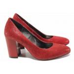 Елегантни дамски обувки на висок ток, естествен велур с нежен релеф, висок ток / Ани 2341 червен / MES.BG