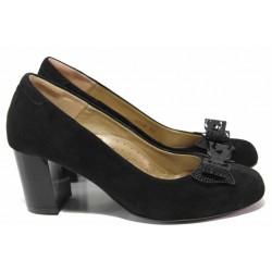 Анатомични дамски обувки с красив акцент, естествен велур, стабилен ток / Ани 2342 черен / MES.BG