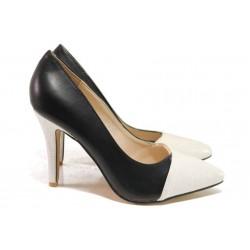 Стилни дамски обувки, заострен връх, облечен ток / Ани GH 189 черен-бял / MES.BG