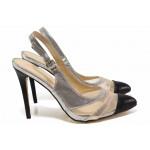 Ефектни дамски обувки с отворена пета, заострен връх, висок ток / Ани ЕК 090 черен-сребро / MES.BG