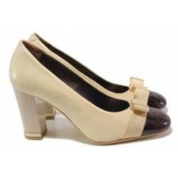 Стилни дамски обувки, висок ток, естествена кожа, панделка, кроко лак / Ани 1480 бежов-кафяв / MES.BG