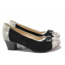 Стилни дамски обувки, естествен велур, среден ток, анатомични, български, змийски принт / Ани 53544 черен-бял / MES.BG